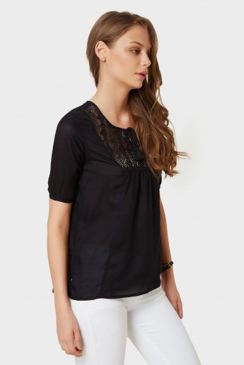 FAME FOREVER Crochet Yoke Half Sleeves Blouse
