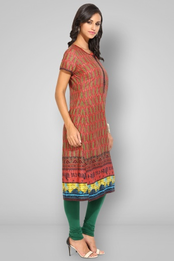 BIBA Round Notch Neck Printed Kurti