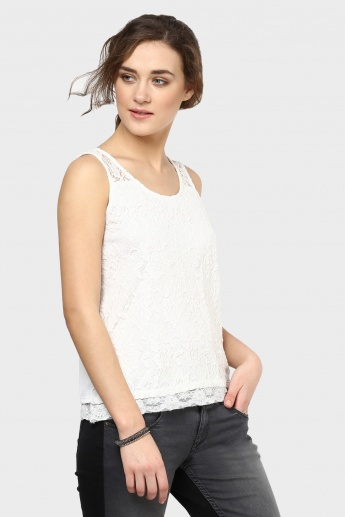GINGER Sleeveless Lace Overlay Top