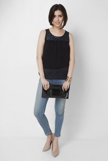 GINGER Sequined Yoke Sleeveless Top