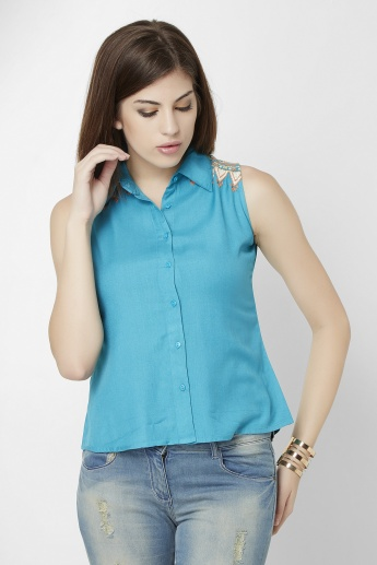 GINGER Stitched Detailing Sleeveless Shirt
