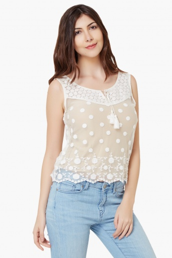 GINGER Sleeveless Lacy Net Blouse