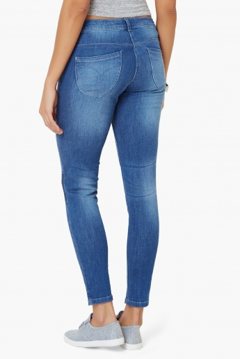 GINGER Whiskered Patch Work Jeans