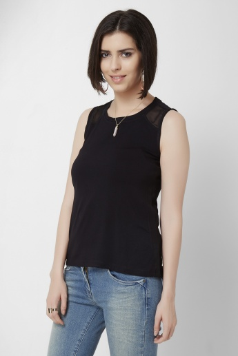 GINGER Sheer Shoulder Sleeveless Top