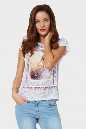GINGER Graphic Print Round Neck Top