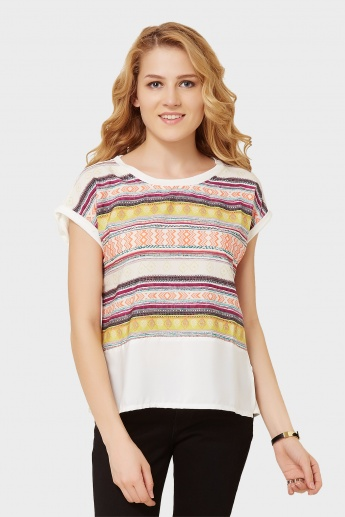 GINGER Aztec Fusion Extended Shoulders Top
