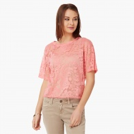 GINGER Floral Fresh Lace Trim Top