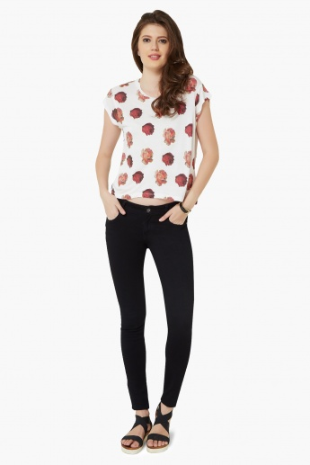 GINGER Rose Print Round Neck Top