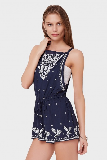 GINGER Embroidered Tie-Up Playsuit
