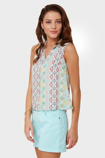 GINGER Aztec Print Split Back Shirt