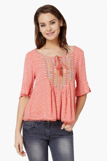 GINGER Printed Embroidered Blouse