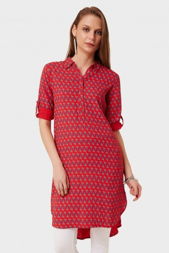 GLOBAL DESI Printed Shirt Roll-Up Sleeves Kurti