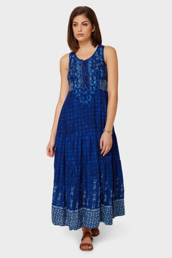 BIBA Printed Tiered Sleeveless Long Kurti
