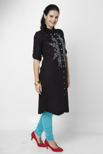 GLOBAL DESI Embroidered Button Down Kurta