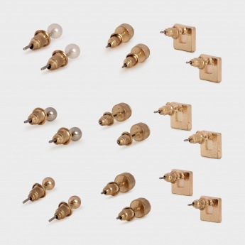 TONIQ Mixed Bunch Stud Earrings - Set Of 9