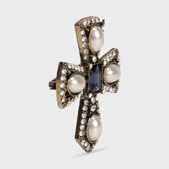 TONIQ Pearl Cross Brooch