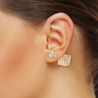TONIQ Crystal-Gold Double Trouble Studs