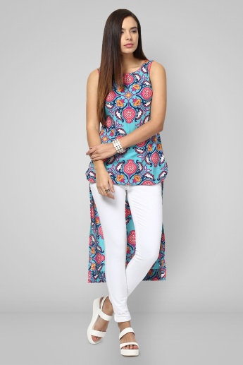 MELANGE Floral Print High Low Kurti