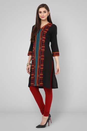 MELANGE V Neck Embroidered Kurti