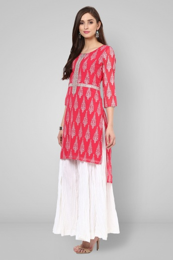 MELANGE Block Print High Low Kurti
