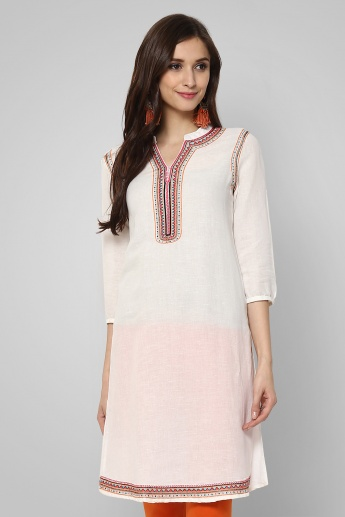 MELANGE Embroidered Band Collar Kurti