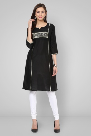 MELANGE Notch Round Neck Kurti