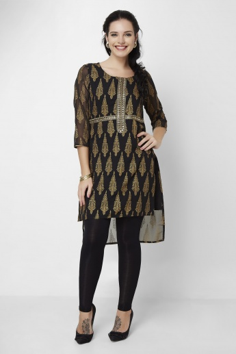 MELANGE Printed Round Neck High- Low Hem Kurta