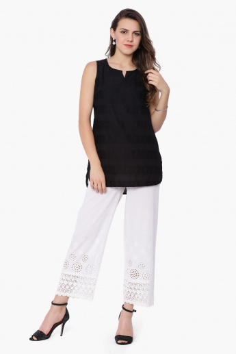 MELANGE Lace Trim Straight Pants