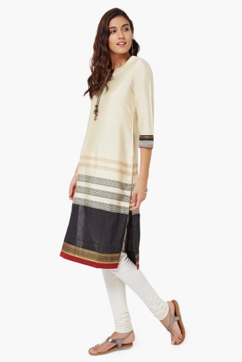 MELANGE Silk Blend Printed Tie-Up Neck Kurta