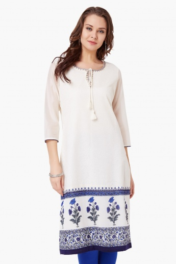 MELANGE Embroidered Print Yoke Kurta