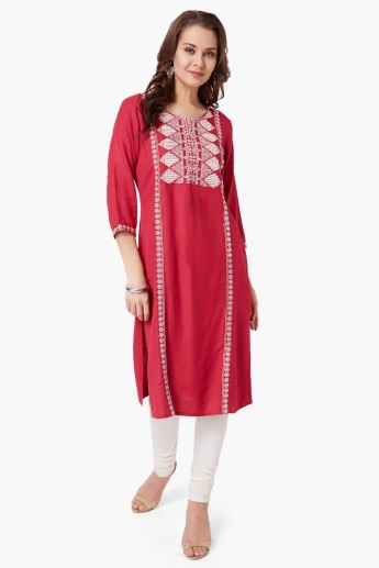 MELANGE Embroidered Round Notch Neck Kurta