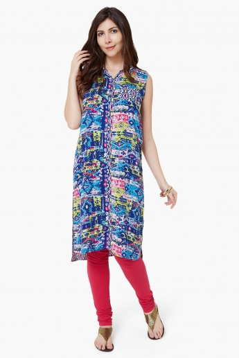 MELANGE Printed High Low Kurta
