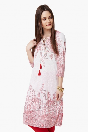 MELANGE Printed Tie-Up Neck Kurta