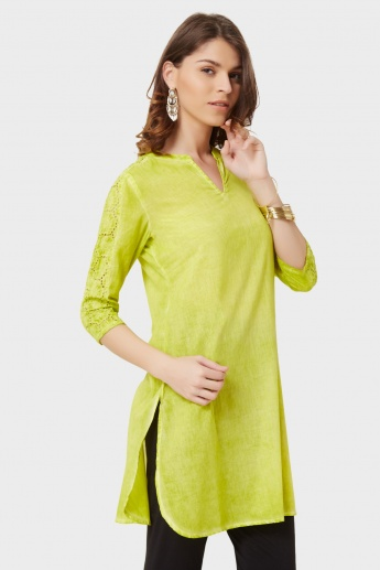 MELANGE Laced Shoulder 3/4th Sleeves Kurti