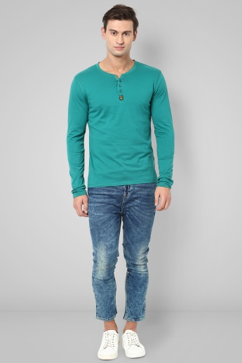 BOSSINI Solid Henley Collar T-Shirt