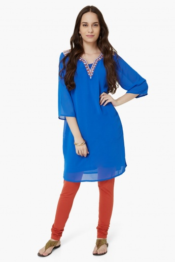 GLOBAL DESI Embroidered Pocketed Kurti