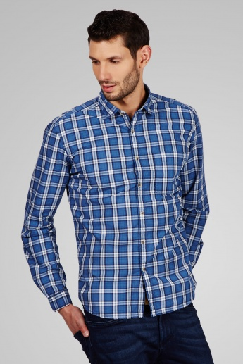 CODE Checks Print Slim Fit Casual Shirt