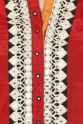 BIBA Round Neck 3/4th Sleeves Solid Kurti