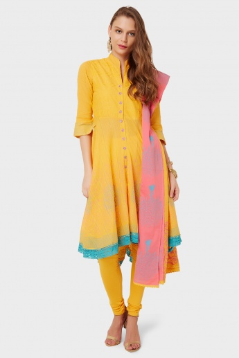 BIBA Printed Anarkali Kurti Churidar Dupatta Set