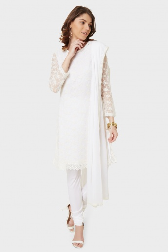 BIBA Embroidered Overlay Kurta Churidar Dupatta Set