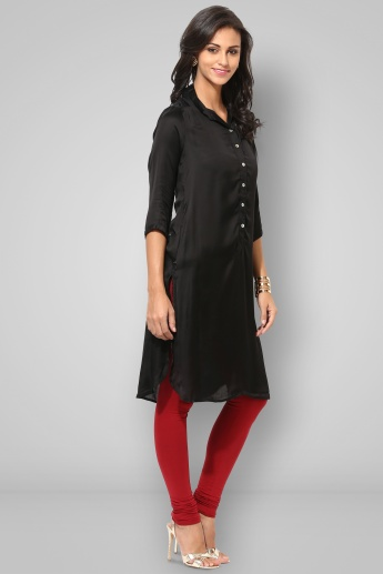 BIBA Collared 3/4th Sleeves Solid Kurti