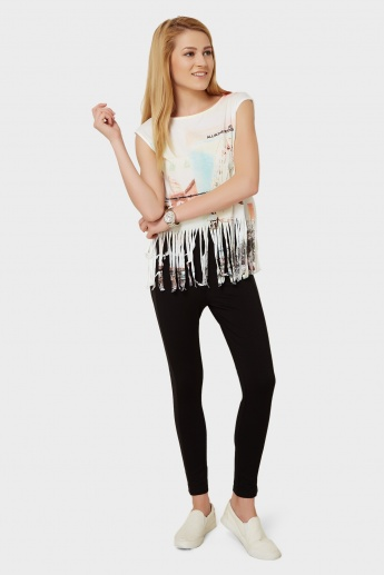 GINGER Fringed Printed Top