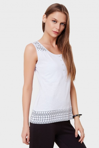 STRINGS Sleeveless Henley Neck Top