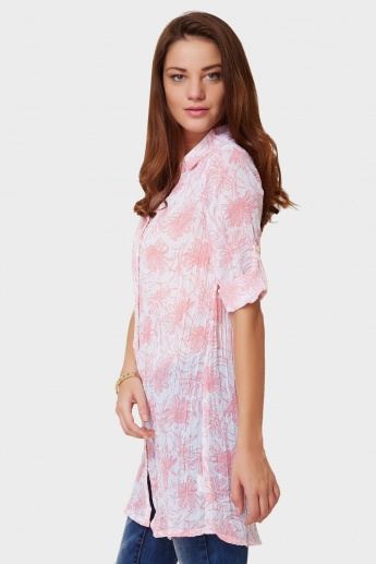 AND Floral Print Roll-Up Sleeves Blouse