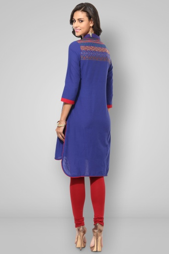 BIBA Collared 3/4th Sleeves Knee Length Kurta