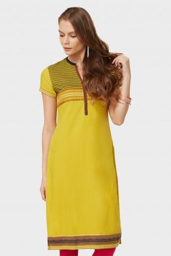 BIBA Jacquard Weave Short Sleeves Straight Kurti
