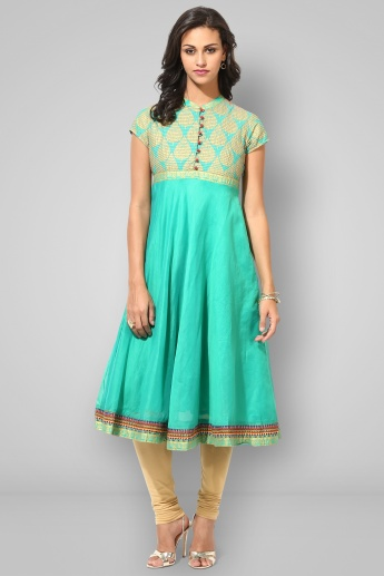 BIBA Band Collar Cap Sleeves Anarkali Kurta