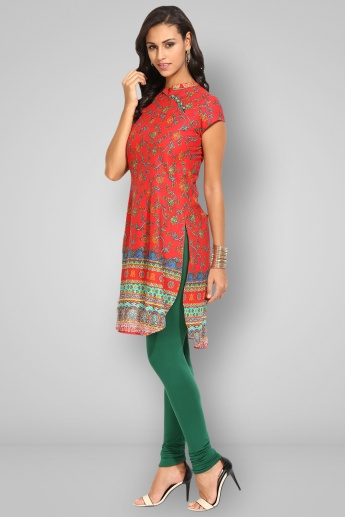 BIBA Band Collar Half Sleeves Straight Kurta